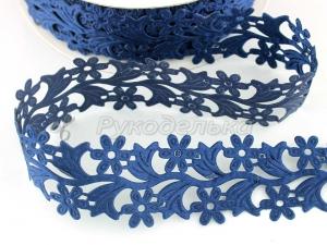 Лента декоративная. Цветы. 30мм. Темно-синяя.