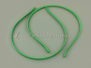 Ободок-основа. Металл+ткань. Зеленый. 5мм