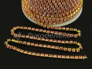 Стразовая лента. Розовые стразы ss12 (золото). 10см.