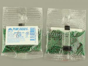 Бисер японский TOHO. 15/0. Зеленый (36). Прозрачный с посеребренным отверстием.5гр.