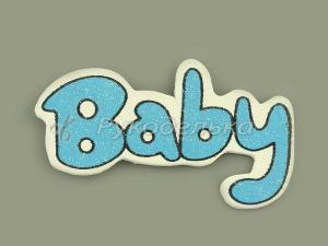Наклейка деревянная Baby голубая