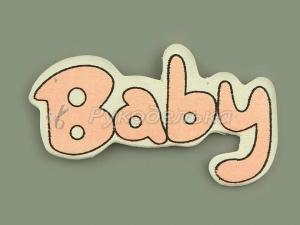 Наклейка деревянная Baby розовая