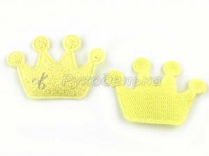 Патч с блестками. Корона.4х2,8см. Желтый.