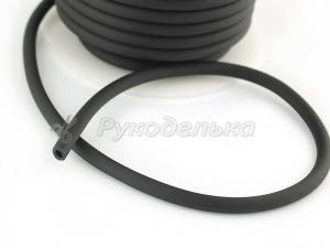 Шнур каучуковый полый для бижутерии 4х2мм. Черный. 10см.