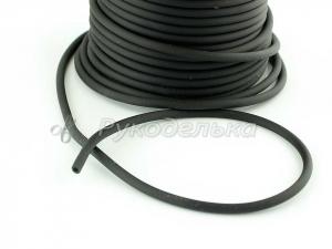 Шнур каучуковый полый для бижутерии 3х1,5мм. Черный. 10см.