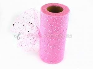 Фатин с пайетками 15см. Розовый