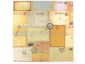 Бумага для скрапбукинга. Post Card. 30,5х30,5см.