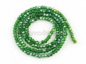 Бусины граненые. Рондели 2мм.. Зеленые прозрачные с переливом.Нить.