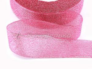 Лента парча. 25мм. Розовый/серебро 89.