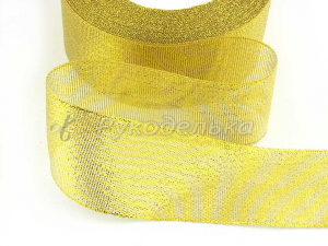 Лента парча. Золото. 40мм.