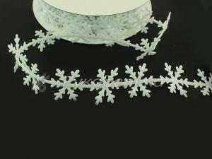 Лента декоративная с вырубкой. Снежинки. 25мм. Белая.