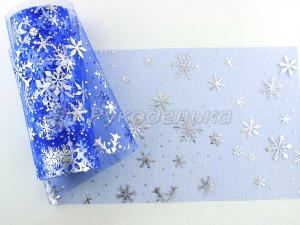 Фатин Снежинки. 15см. Синий