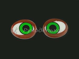 Глазки овальные. Коричневые. 25х21мм.