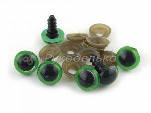 Глазки для игрушек 12мм. Зеленые.