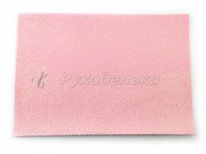 Кожзам с глиттером 21х15см. Нежно-розовый.