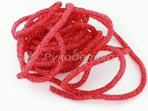 Шнур стразовый полый для бижутерии 7мм. Красный. 10см.