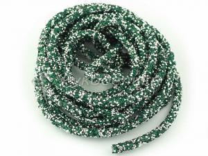 Шнур стразовый полый для бижутерии 7мм. Зеленый. 10см.