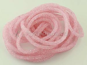 Шнур стразовый полый для бижутерии 7мм. Розовый. 10см.